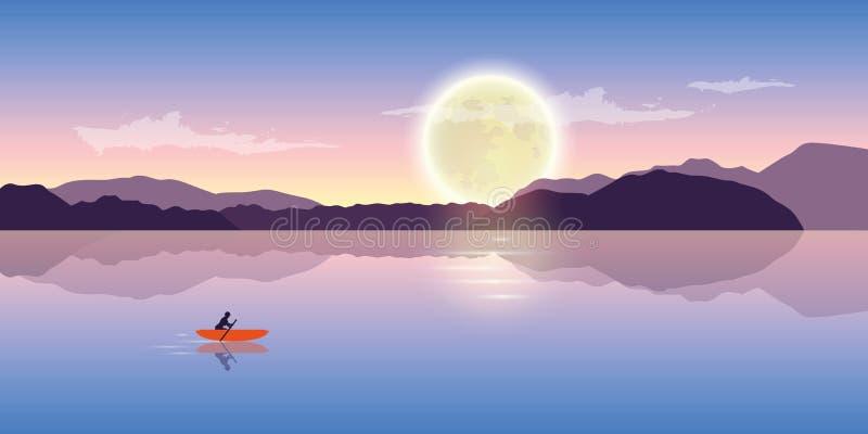 Ensamt kanota affärsföretag med det orange fartyget på natten med fullmånen royaltyfri illustrationer