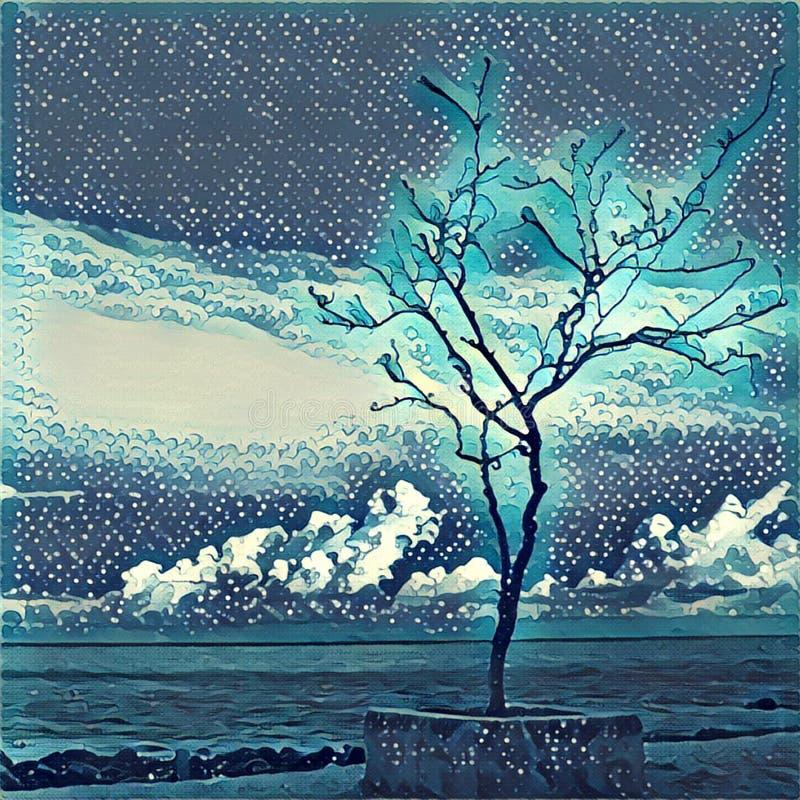Ensamt träd på havskusten Kontur av det livlösa trädet på stranden stock illustrationer