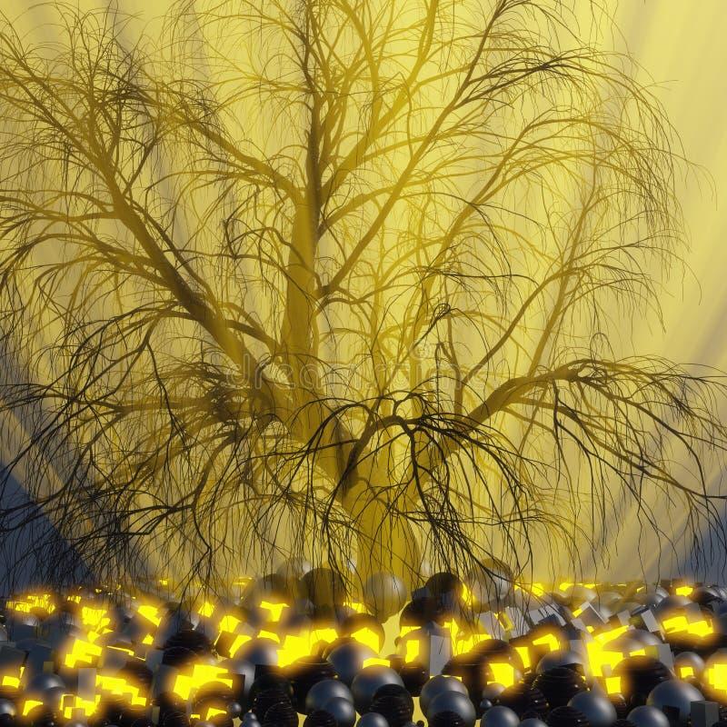Ensamt träd utan sidor i dimma eller mist som tänds av ljusa orange strålar för solgud i utrymme som omges av svarta sfärer, aska vektor illustrationer