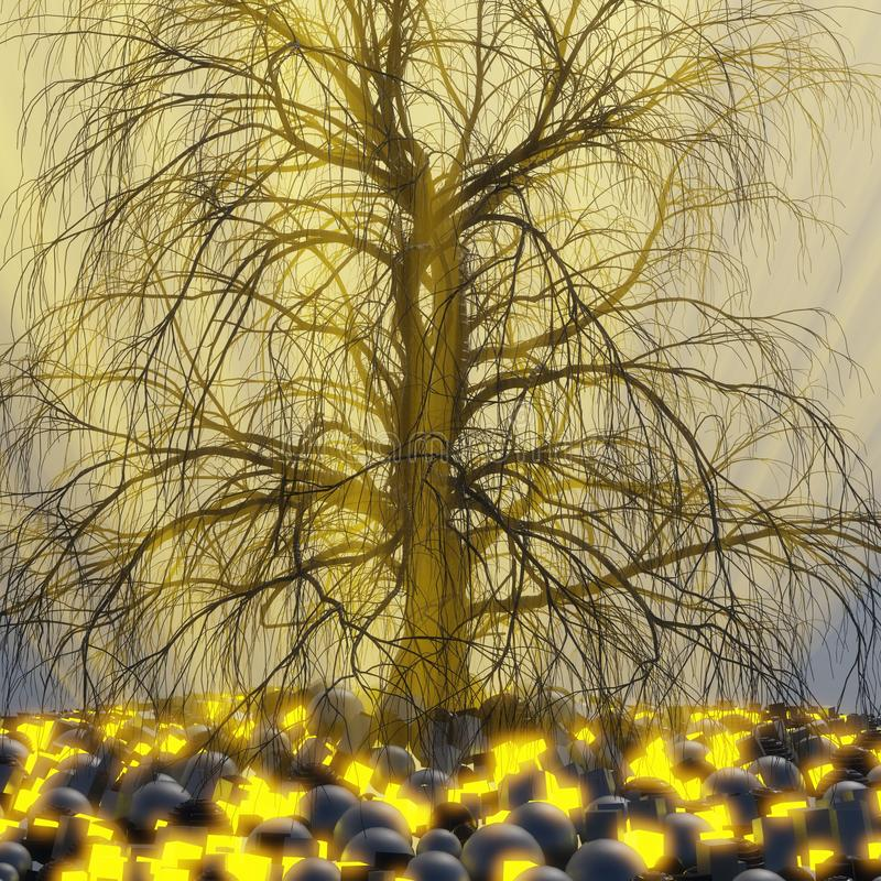 Ensamt träd utan sidor i dimma eller mist som tänds av ljusa orange strålar för solgud i utrymme som omges av svarta sfärer, aska royaltyfri illustrationer