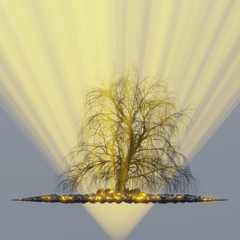 Ensamt träd utan sidor i dimma eller mist som tänds av ljusa orange strålar för solgud i utrymme som omges av svarta sfärer, aska stock illustrationer
