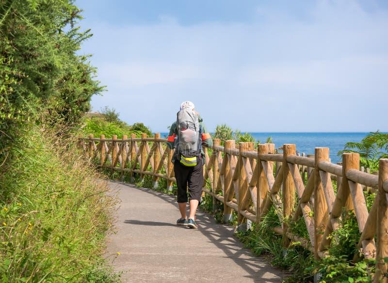 Ensamt vallfärda med ryggsäcken som går Caminoen de Santiago arkivfoto