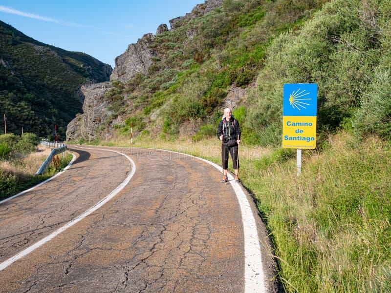 Ensamt vallfärda med ryggsäcken som går Caminoen de Santiago i Spanien arkivfoto