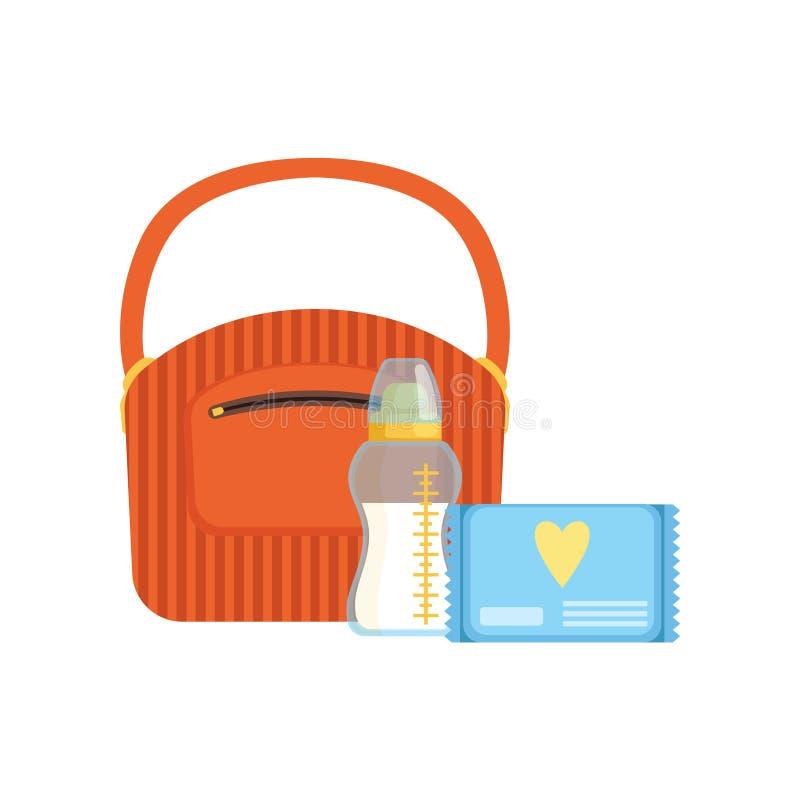 Ensaque, garrafa de bebê do leite e bloco de limpezas molhadas, alimentando e importando-se com uma ilustração do vetor da crianç ilustração do vetor