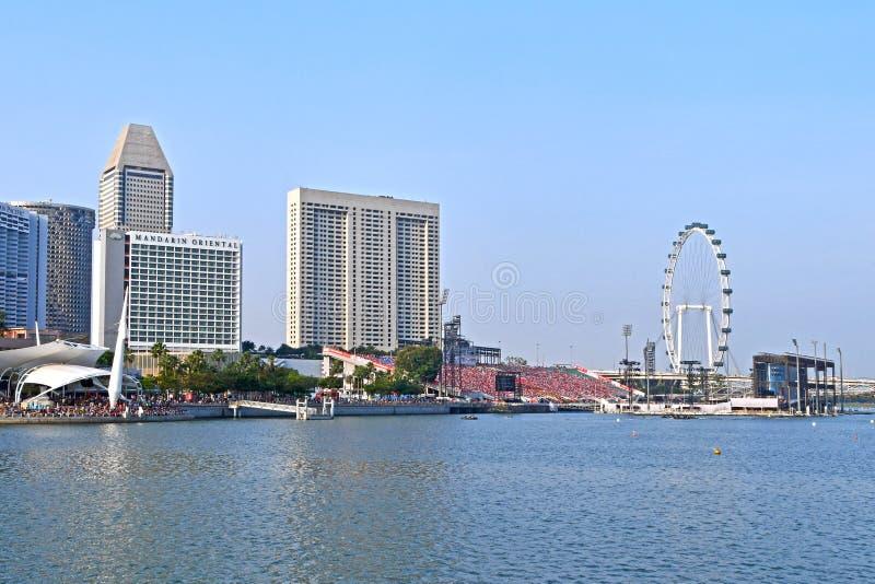 Ensayo 2018 de Marina Bay Waterfront During NDP fotos de archivo