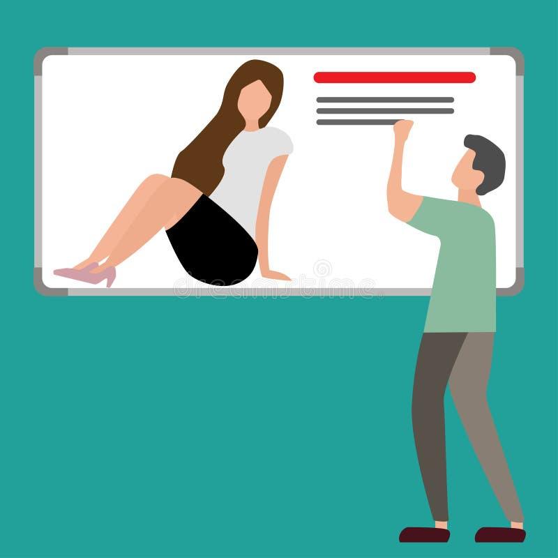 enseñanza del hombre o estudiar a una mujer en el tablero ilustración del vector