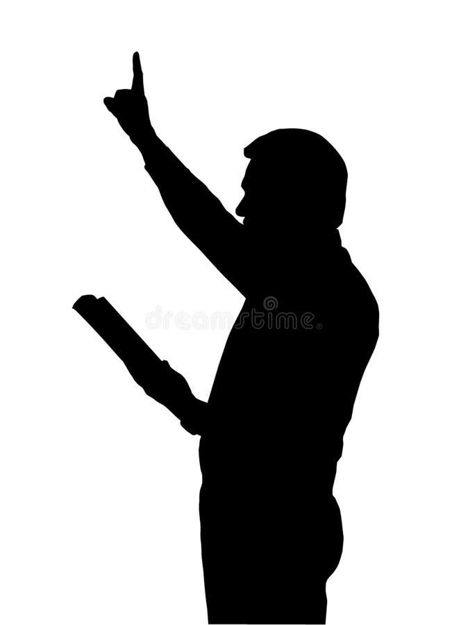 Enseñanza del predicador de la biblia con el brazo levantado stock de ilustración