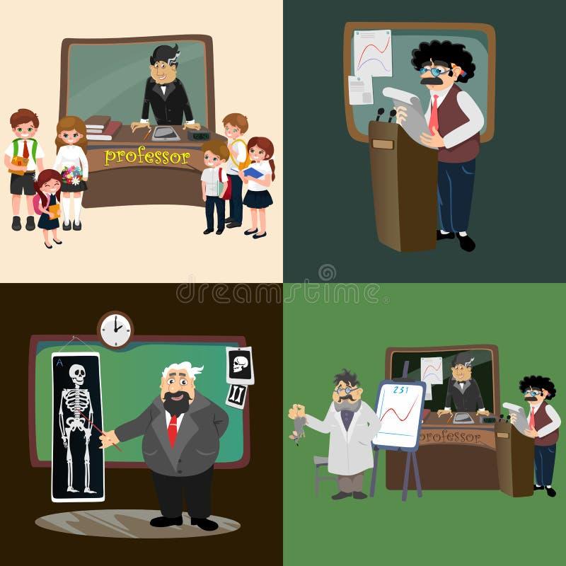 Enseñanza del profesor en la pizarra, el profesor del concepto de la educación de la universidad con la tabla en universidad o el libre illustration