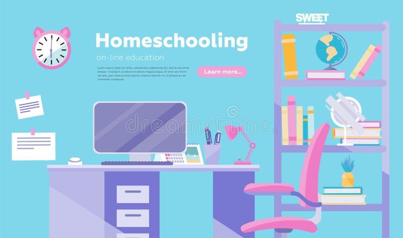 Enseñar en casa estilo de la historieta del inflat del ejemplo del vector Educación en línea y cartel conceptual de Ministerio de libre illustration