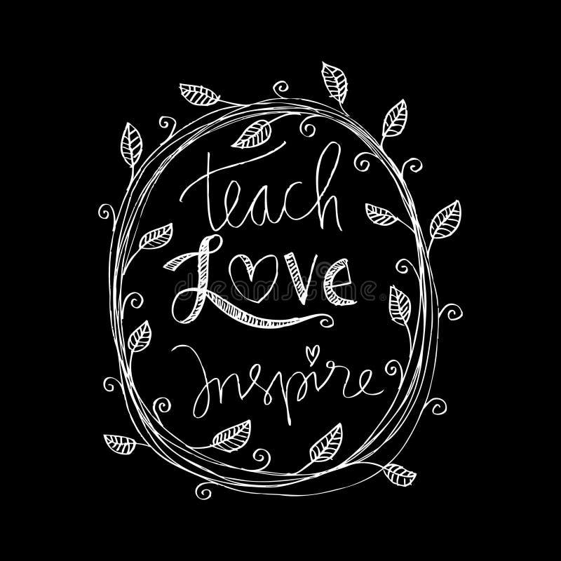 Enseñe al amor inspiran ilustración del vector
