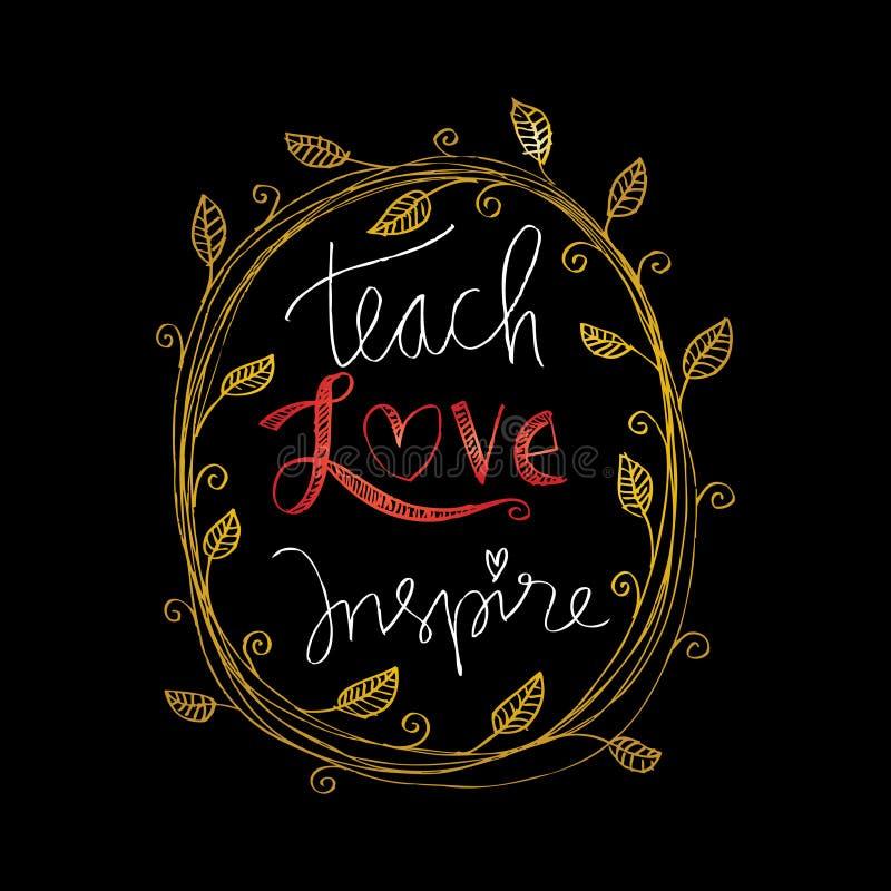 Enseñe al amor inspiran stock de ilustración