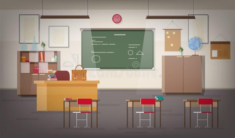 Enseñe el interior de la sala de clase con la pizarra verde de la pared, el lugar para el profesor, las luces pendientes, los esc ilustración del vector