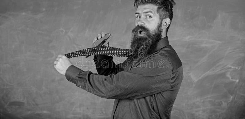Enseñe el papel Manera peligrosa de la grapadora desaliñada del uso del hombre La corbata del desgaste formal del profesor del in fotografía de archivo libre de regalías