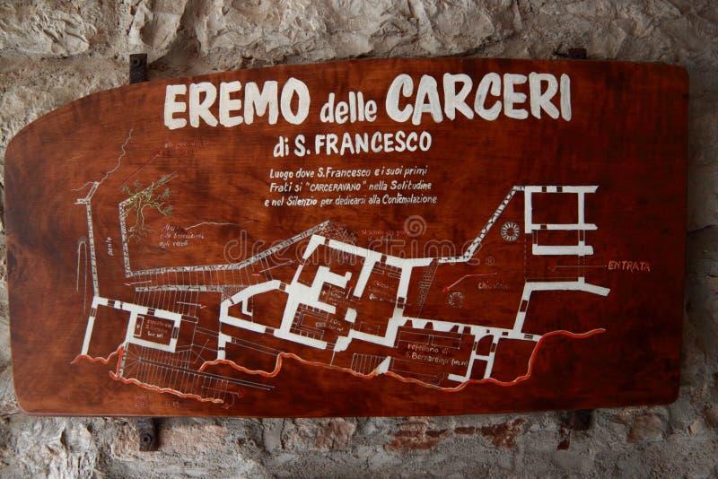 Enseñe a la ermita de St Francis de Assisi, paz y bien foto de archivo