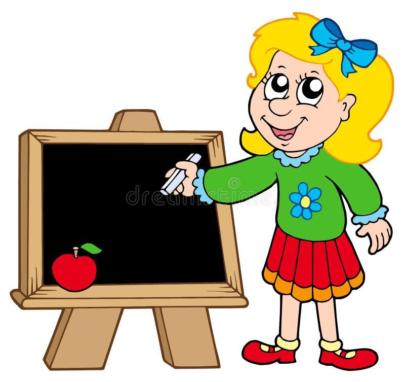 Enseñe la escritura de la muchacha en la pizarra libre illustration