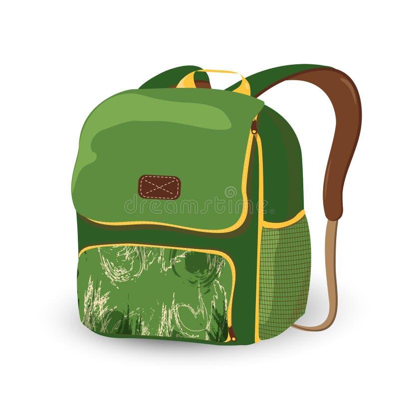 Enseñe la mochila, bolso del Libro verde aislado en un fondo blanco historieta del bolso de escuela Ilustración del vector ilustración del vector