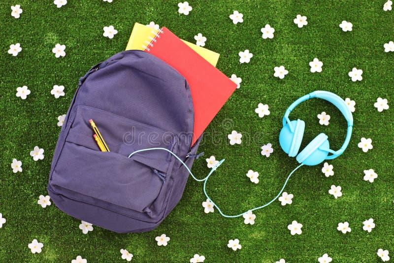 Enseñe la mochila con los libros y los auriculares en una hierba con la margarita foto de archivo