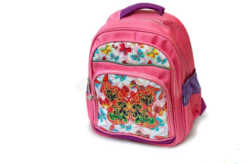 Enseñe la mochila para la muchacha en un fondo blanco imágenes de archivo libres de regalías