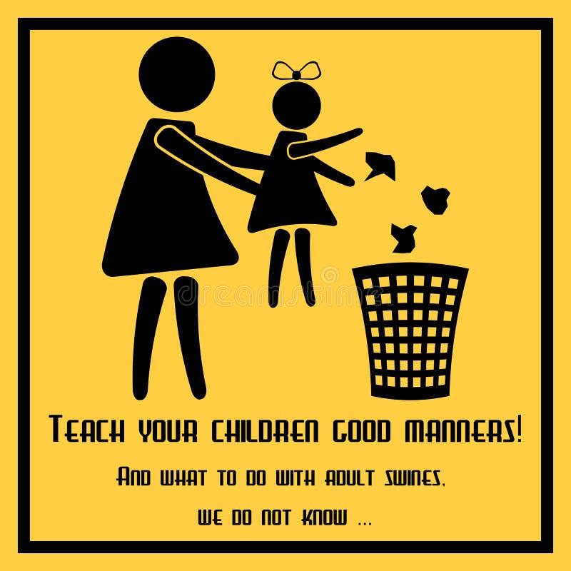 Enseñe sus niños a las buenas maneras stock de ilustración