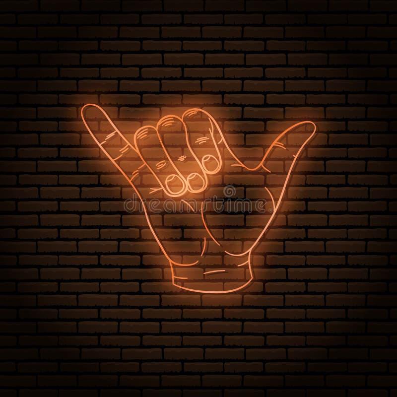 Enseigne au néon avec un orange chaud Geste de main, shaka auriculaire et pouce illustration de vecteur