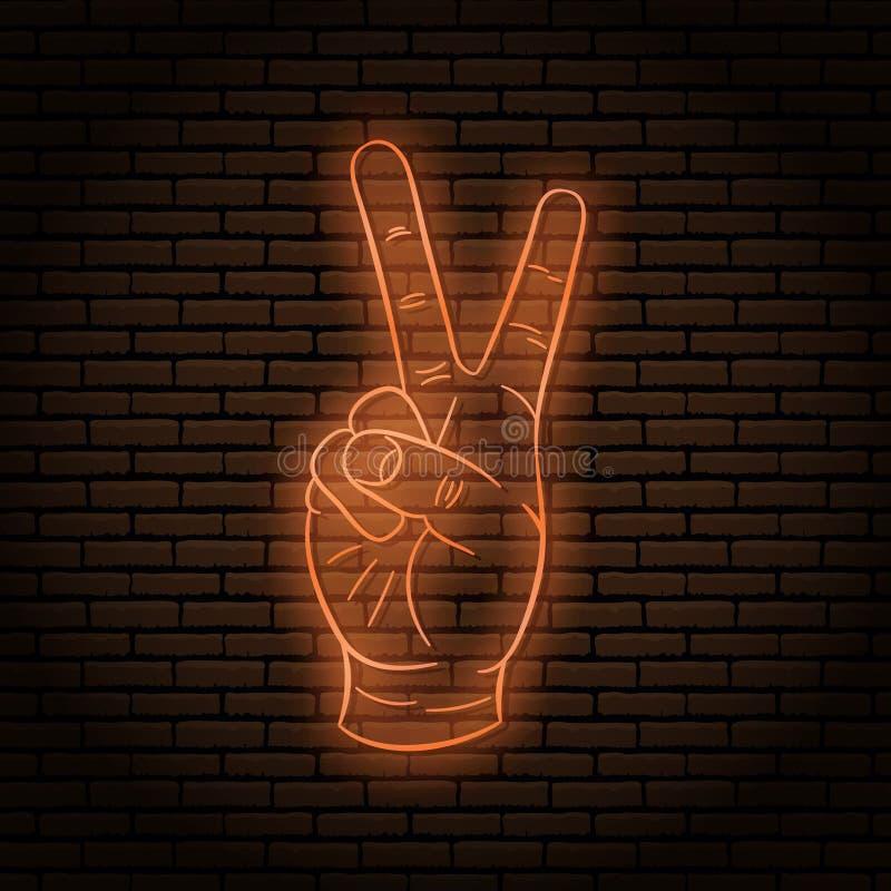 Enseigne au néon avec un orange chaud Le geste de main, deux doigts, montre la paix illustration stock