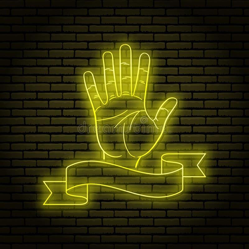 Enseigne au néon avec une lueur jaune Geste de main, paume ouverte Sur un fond de mur de briques, pour votre conception Avec le r illustration libre de droits