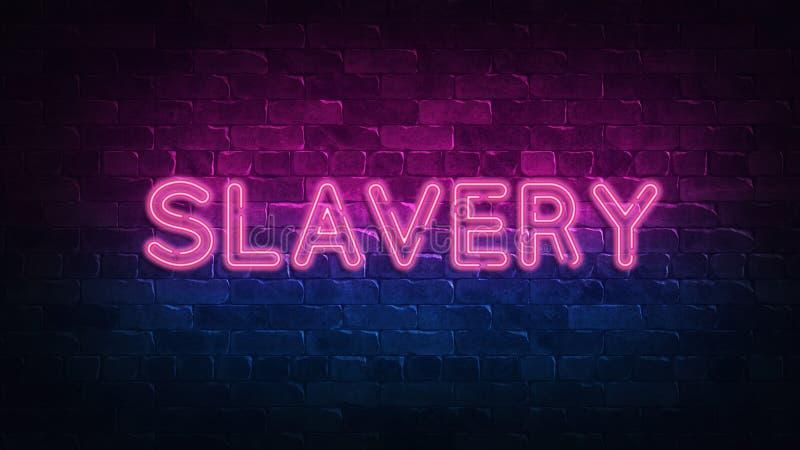 Enseigne au néon d'esclavage lueur pourpre et bleue Texte au n?on Mur de briques allum? par les lampes au n?on ?clairage de nuit  illustration libre de droits