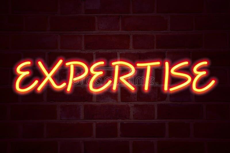 Enseigne au néon d'expertise sur le fond de mur de briques Le tube au néon fluorescent se connectent le concept d'affaires de bri image stock