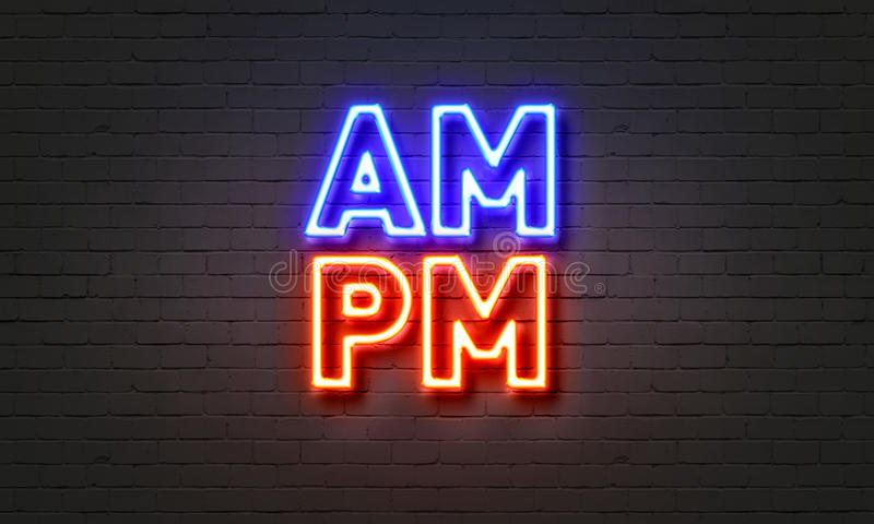 Enseigne au néon d'AM/PM sur le fond de mur de briques photographie stock