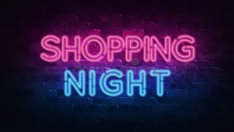 Enseigne au néon de achat de nuit lueur pourpre et bleue Texte au n?on Mur de briques allum? par les lampes au n?on ?clairage de  illustration de vecteur