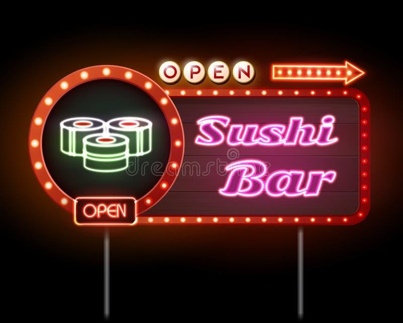 Enseigne au néon de bar à sushis illustration stock