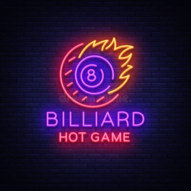 Enseigne au néon de billards Logo chaud de jeu de billard dans le style au néon, bannière légère, billard de nuit d'emblème de ca illustration stock
