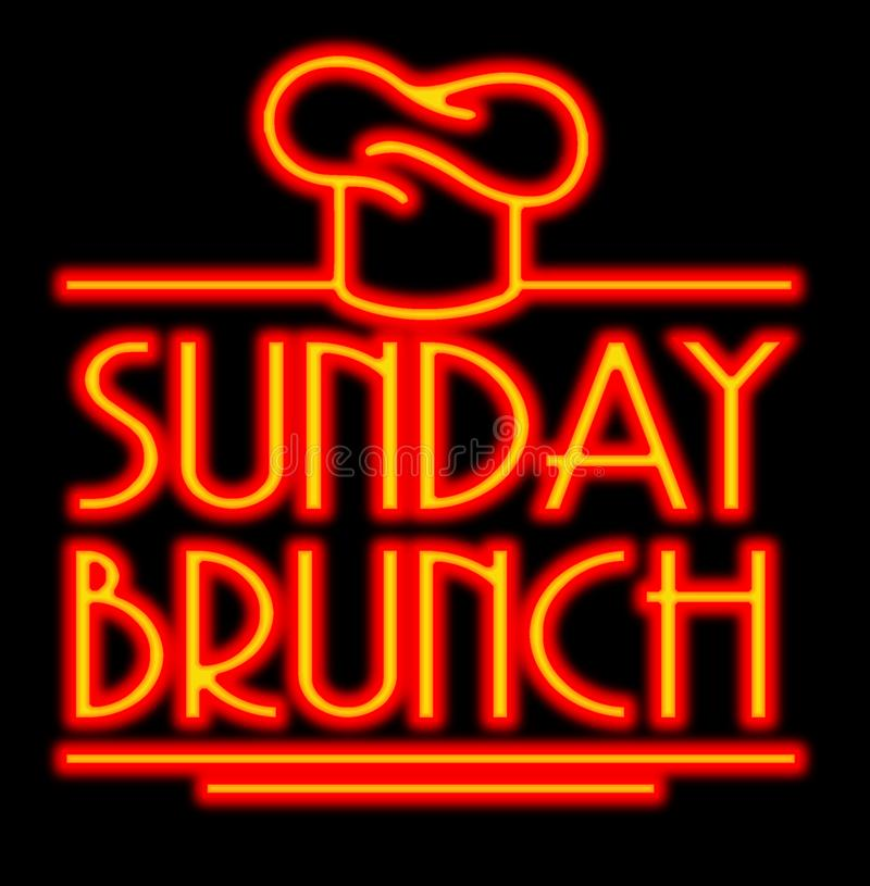 Enseigne au néon de brunch illustration de vecteur