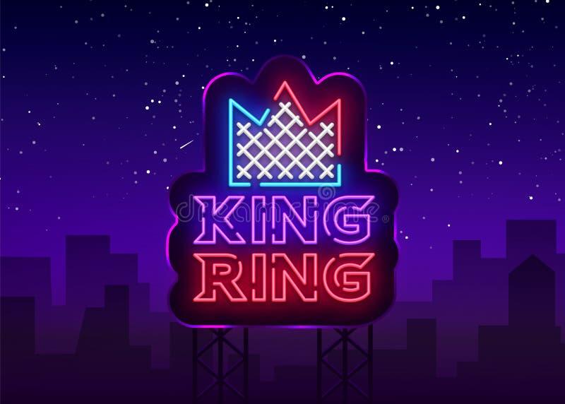 Enseigne au néon de club de combat Logo de roi RING dans le style au néon Emblème de calibre de conception, logo de sports Combat illustration stock