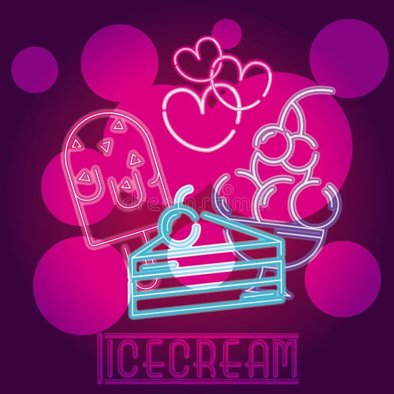 Enseigne au néon de crème glacée  illustration de vecteur