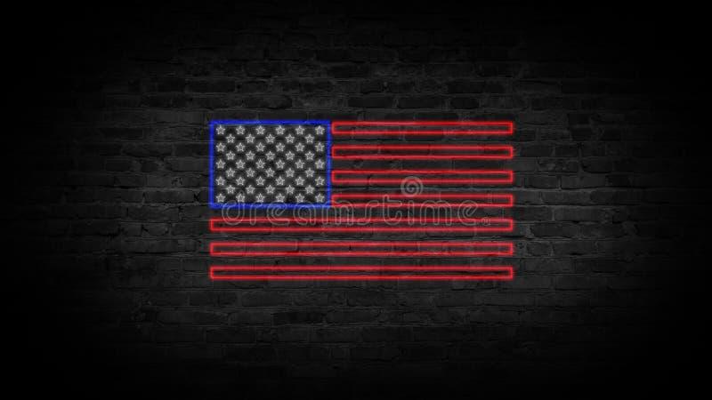 Enseigne au néon de drapeau des Etats-Unis Jour Etats-Unis Fond de fête photos stock