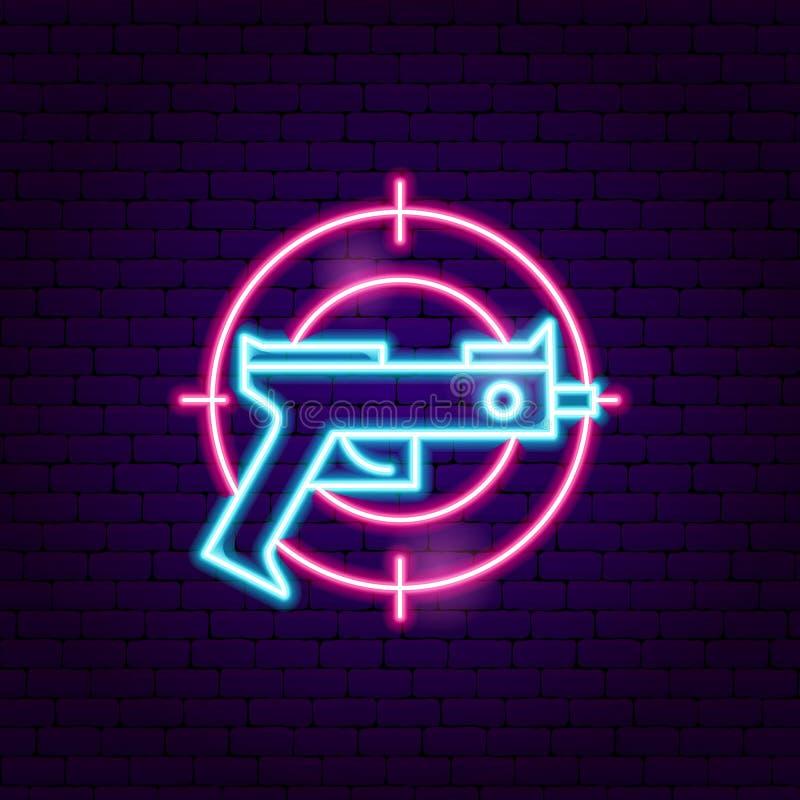 Enseigne au néon de jeu d'arme à feu illustration libre de droits