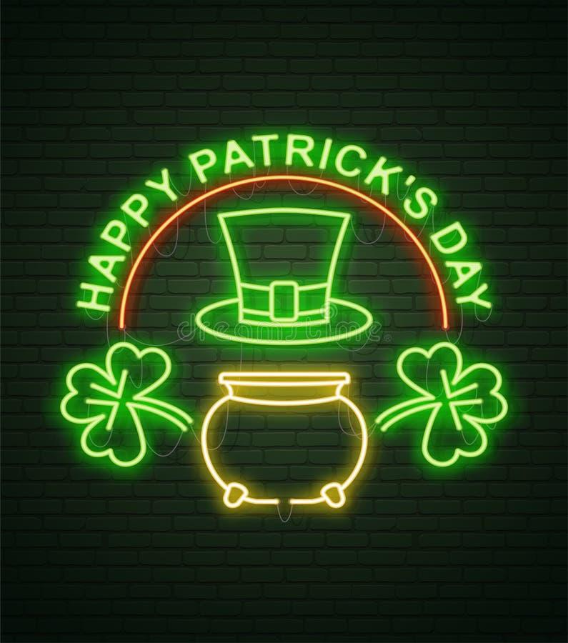 Enseigne au néon de jour de St Patricks et mur de briques vert Signe réaliste illustration de vecteur
