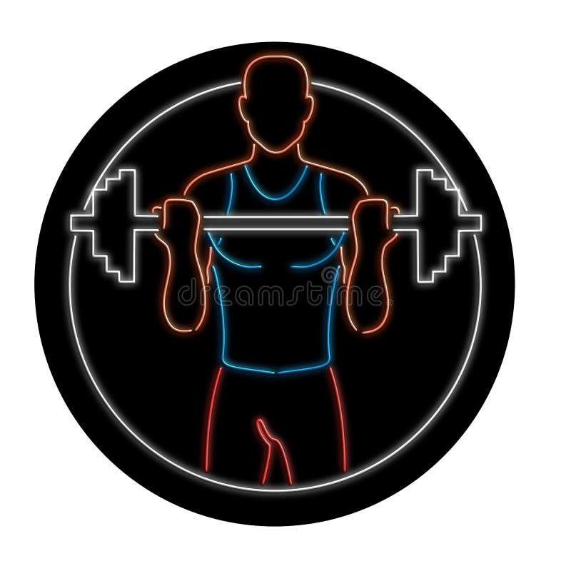 Enseigne au néon de Lifting Barbell Oval d'athlète illustration libre de droits