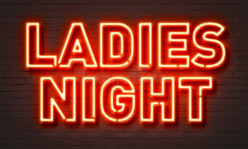 Enseigne au néon de nuit de dames sur le fond de mur de briques illustration de vecteur