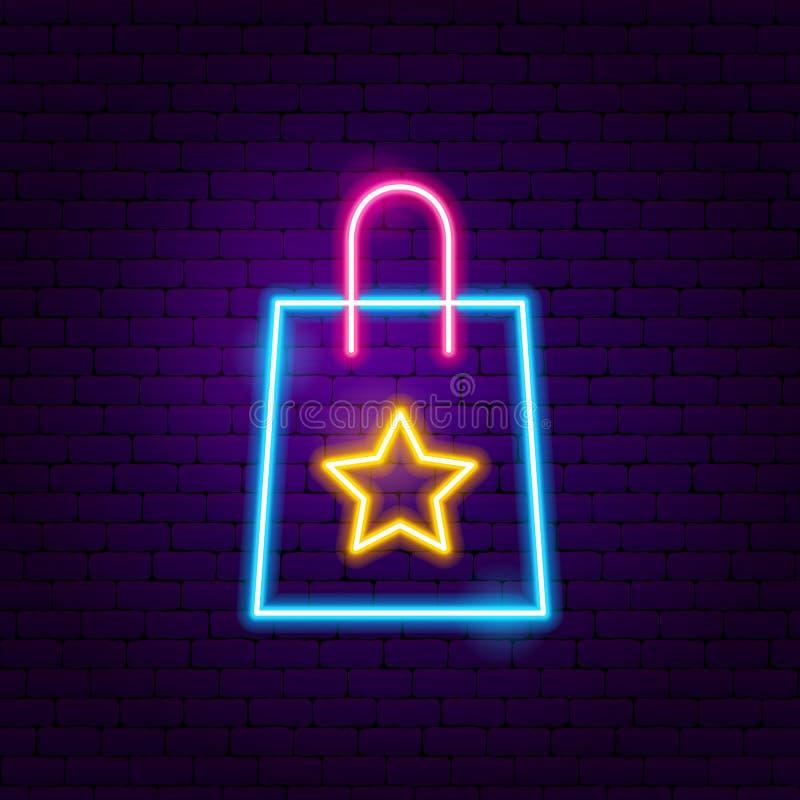 Enseigne au néon de sac à provisions de cadeau illustration libre de droits