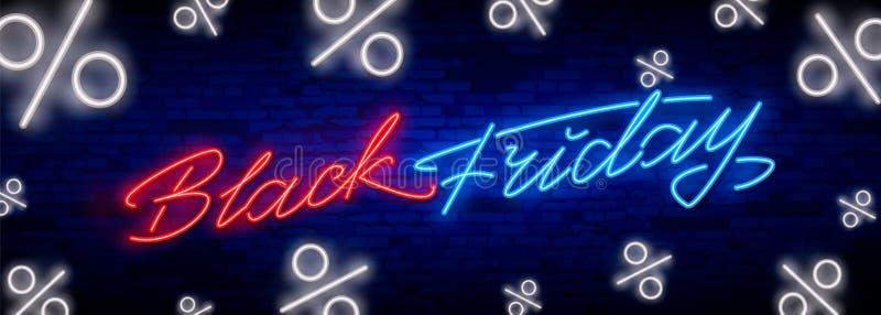 Enseigne au néon de vente de Black Friday Enseigne au néon de calibre de conception de vente de Black Friday, bannière légère, en photos libres de droits