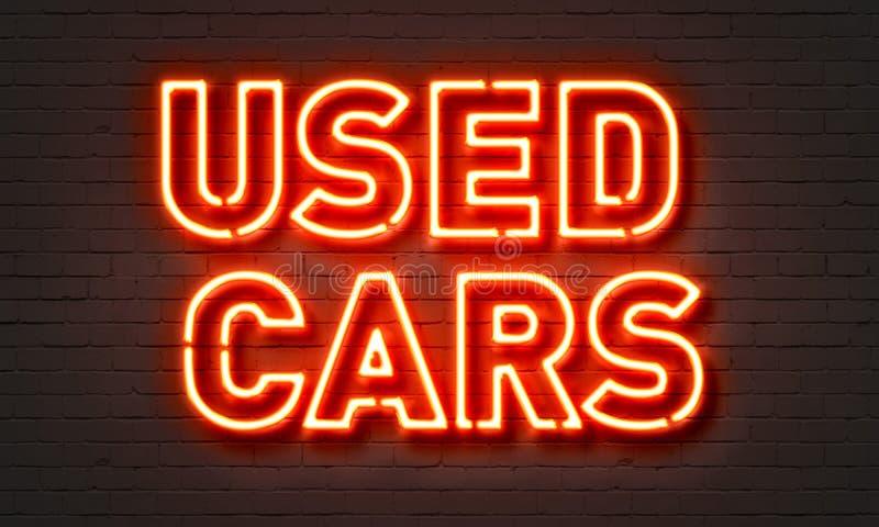 Enseigne au néon de voitures d'occasion photos stock