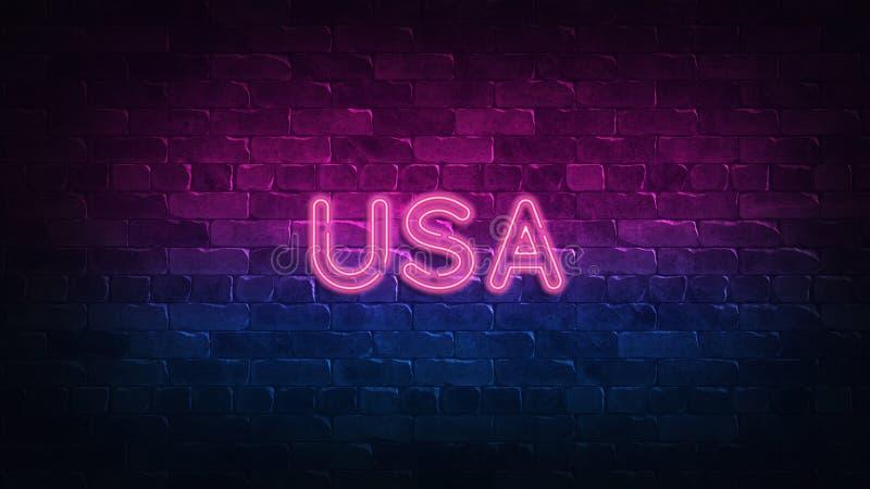 Enseigne au néon des Etats-Unis lueur pourpre et bleue Texte au n?on Mur de briques allum? par les lampes au n?on ?clairage de nu illustration stock