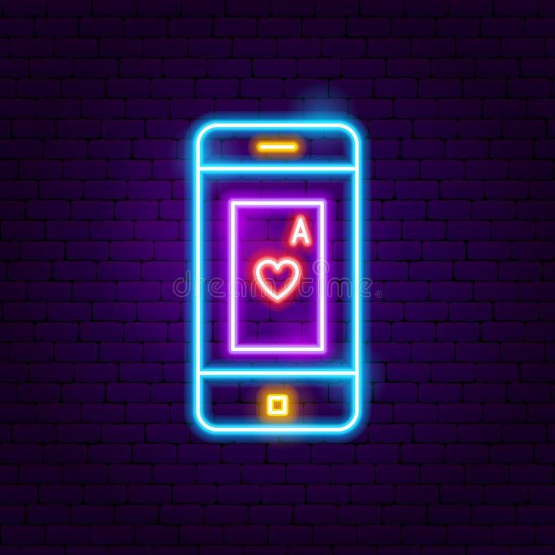 Enseigne au néon en ligne de casino illustration libre de droits