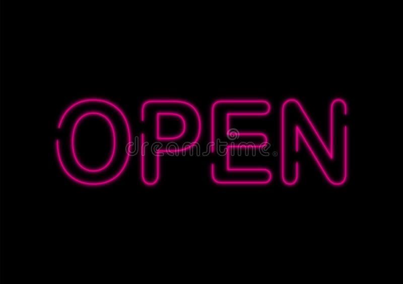 Enseigne au néon ouvert sur le fond noir illustration de vecteur