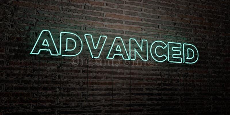 - Enseigne au néon réaliste sur le fond de mur de briques - 3D AVANCÉ a rendu l'image courante gratuite de redevance illustration libre de droits