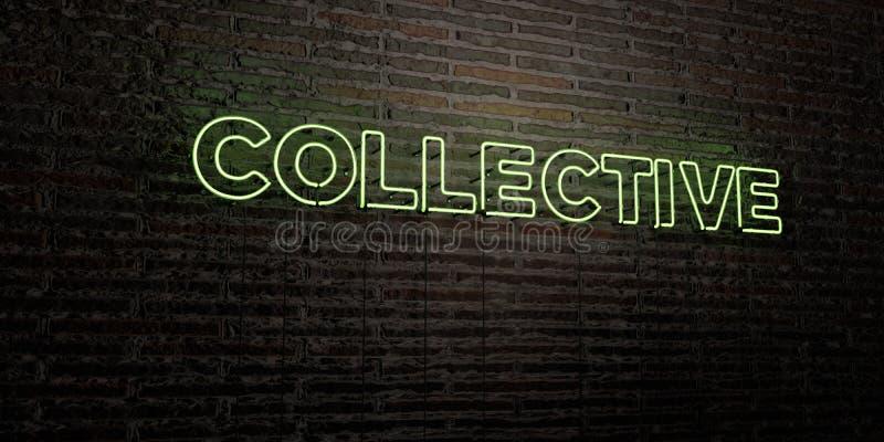 - Enseigne au néon réaliste sur le fond de mur de briques - 3D COLLECTIF a rendu l'image courante gratuite de redevance illustration de vecteur
