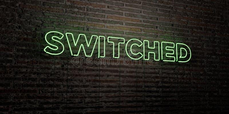 - Enseigne au néon réaliste sur le fond de mur de briques - 3D COMMUTÉ a rendu l'image courante gratuite de redevance illustration libre de droits