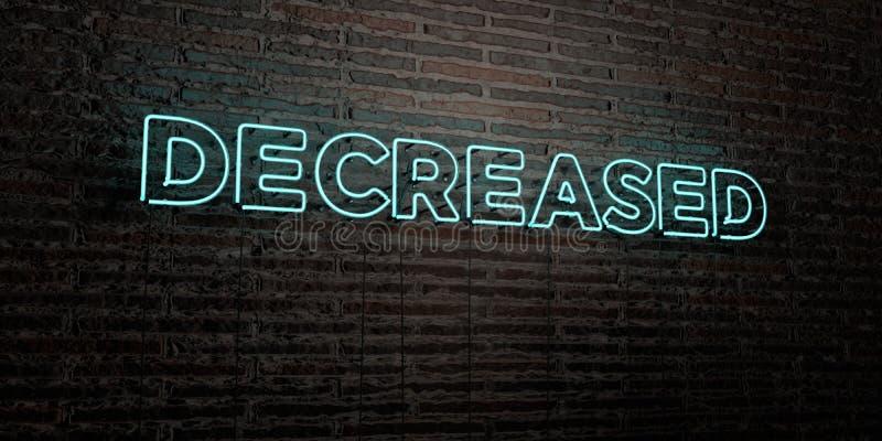 - Enseigne au néon réaliste sur le fond de mur de briques - 3D DIMINUÉ a rendu l'image courante gratuite de redevance illustration libre de droits